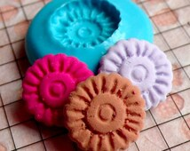Cookie Mold Round Biscuit 14mm Flexible Mold Dollhouse Miniature Sweets Deco Kawaii Jewelry Earrings Polymer Clay Fimo Silicone Mold MD764