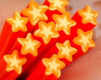Polymer Clay Cane - Orange Star - for Miniature Food / Dessert / Cake / Ice Cream Sundae Decoration and Nail Art CS07