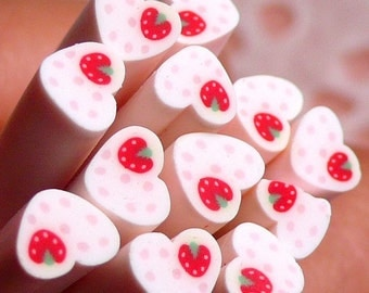 Polymer Clay Cane - Heart with Strawberry - for Miniature Food / Dessert / Cake / Ice Cream Sundae Decoration and Nail Art CH18