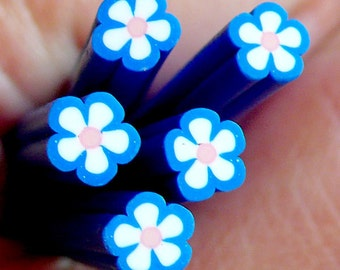 Polymer Clay Cane - Blue Flower - for Miniature Food / Dessert / Cake / Ice Cream Sundae Decoration and Nail Art CFW034