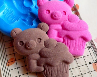 Flexible Silicone Mold Bear Mold w/ Cupcake 34mm Kawaii Cellphone Sweets Deco Cake Decoration Cupcake Topper Fondant Fimo Clay Resin MD665