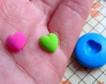 Tiny Puffy Heart Mold 8mm Flexible Silicone Mold DIY Jewelry Earrings Mold Kawaii Decoden Scrapbooking Mold Polymer Clay Mini Mold MD499