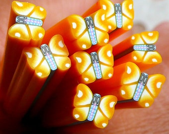 Kawaii Yellow Butterfly Fimo Cane Polymer Clay Cane Nail Art Deco Nail Decoration Scrapbooking CBT33