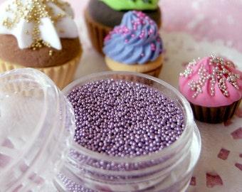 Miniature Cupcake Sprinkles Dollhouse Ice Cream Toppings Fake Balls Dragees Faux Sugar Pearls (Light Purple / 7g) Kawaii Sweets Craft SPK22