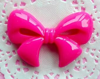 Kawaii Ribbon Cabochon Flatback Bow Cabochon Jumbo (60mm x 39mm / Dark Pink) Big Decoden Cabochon Cute Decoration Japan Lolita Style CAB023