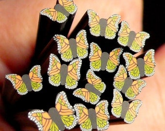 Colorful Butterfly Polymer Clay Cane Black Butterfly Fimo Cane w/ Orange and Green Pattern Nail Art Decoration CBT34