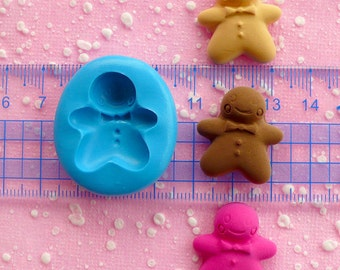 Gingerbread Man Mold 24mm Silicone Mold Flexible Mold Kawaii Kitsch Jewelry Charms Mold Cell Phone Deco Mold Sweets Cabochon Clay Mold MD702