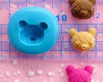 Bear Cross Bun Mold Bread Mold 16mm Silicone Mold Flexible Mold Animal Mold Kawaii Miniature Sweets Earrings Fimo Polymer Clay Mold MD225