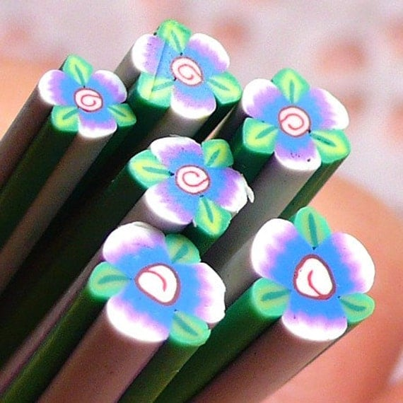 Polymer Clay Cane - Flower with Leaf - for Miniature Food / Dessert / Cake / Ice Cream Sundae Decoration and Nail Art CFW054