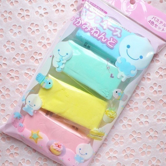 Clay Material - Light Weight Clay - Set of 4 Fuwa Fuwa Mousse Paper Clay from Japan (PASTEL PINK, BLUE, YELLOW, GREEN) - Miniature Food / Cake / Dessert / Ice Cream