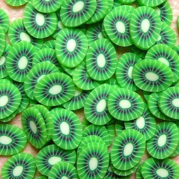 Polymer Clay Cane Kawaii Fruit Kiwi Slices Decoden Miniature Scrapbooking Decoration Nail Art (75-100pcs) CF014