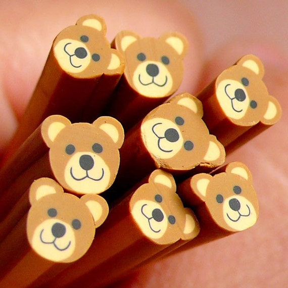 Polymer Clay Cane - Bear Smiling Face (Brown) - for Miniature Food / Dessert / Cake / Ice Cream Sundae Decoration and Nail Art CAN032