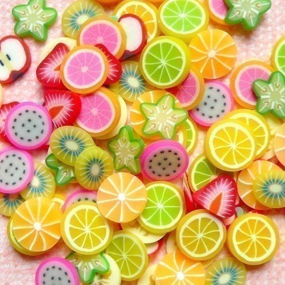 Polymer Clay Cane Mix Fruit Fimo Cane Slices Mix  Mini Fruit Sweets Decoden  Kawaii Nail Art Decoration (100 pcs) (by random) CMX001