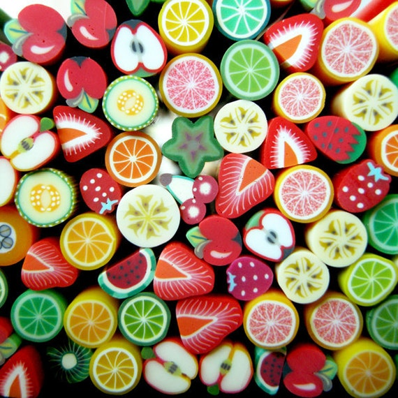 Cf Sze L The Deco Haus: Fruit Canes Mix Assorted Fruit Polymer Clay Fimo By