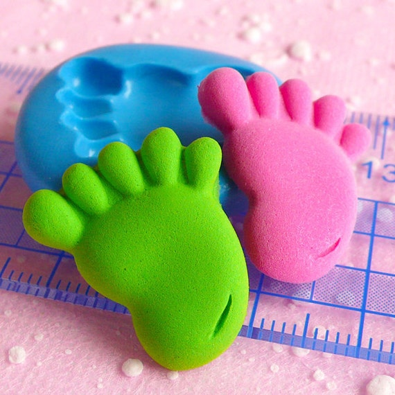baby foot flexible silicone mold 23mm kawaii by miniaturesweet. Black Bedroom Furniture Sets. Home Design Ideas