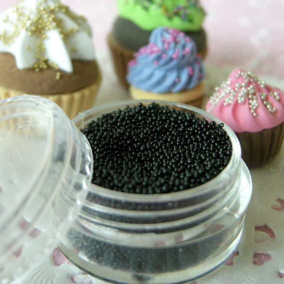 Dollhouse Caviar Beads Microbeads Nails Faux Sugar Sprinkles Micro Marbles Fake Cupcake Toppings (Black / 7g) Miniature Food Jewellery SPK20