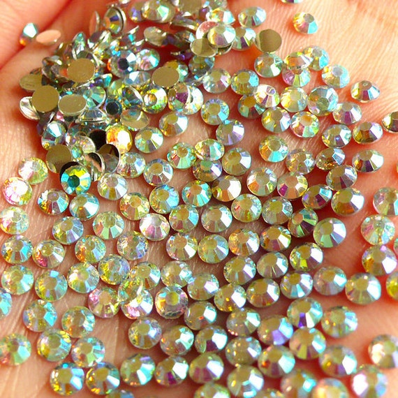 Clear AB Rhinestones / 14 Faceted Cut Round Resin Rhinestones (3mm) (Around 200 pcs) - For Deco Sweets / Cell Phone Decoration, etc RHAB300