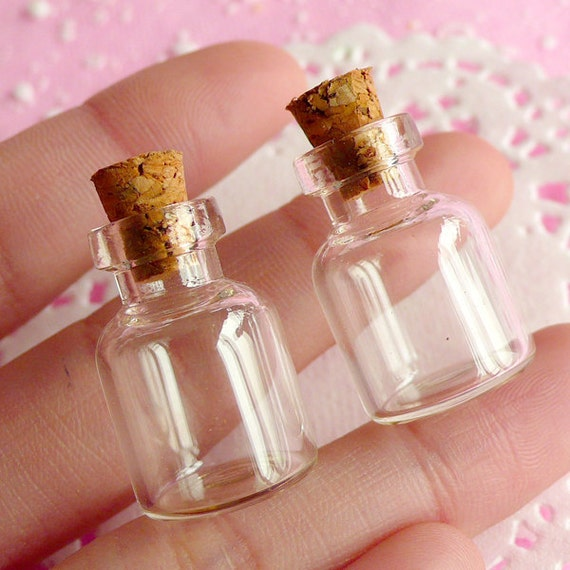 Tiny Glass Vials W/ Corks 24mm X 16mm / 1.5ml / By