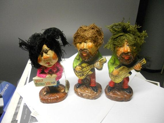 3 1960's napcoware ceramic hippie figures japan