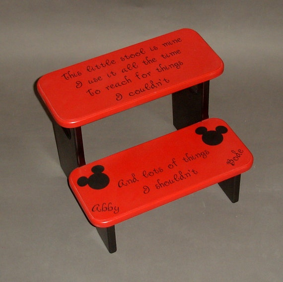 Items similar to mickey mouse step stool with little stool is mine i use it all the time on etsy Bathroom step stool for kids