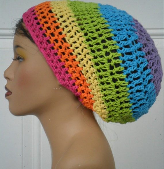 Lightweigfht Cotton Summer Tam in Tropical Rainbow