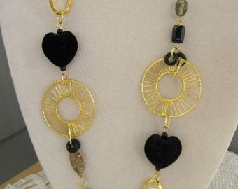 Chunky black and gold necklace