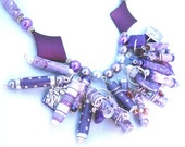 Necklace with purple/silver beaded charms