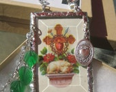 Lamb of God Antique Ephemera Holy Card Rear View Mirror Shrine Prism