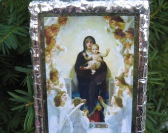 Catholic Art Hail, Holy Queen, Mother of Mercy Stained Glass Holy Card Devotional