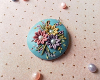 The Bride's Bouquet - small polymer clay pendant