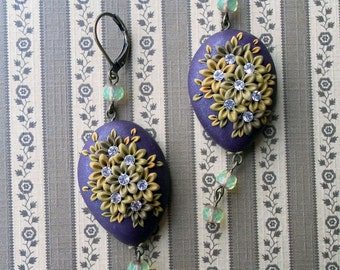 Midnight - Polymer clay earrings