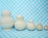 DIY Blank Russian Nesting Matryoshka Dolls- Potbellied- 6 inch 5 Piece Set Unpainted