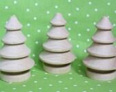 Miniature Wooden Pine Trees- Set of Three (3) DIY Unpainted Christmas Tree/ Fairy Garden Landscape
