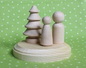 DIY Nature Couple- Wedding Cake Topper PLUS PAINT kit- Unpainted Wood Bride and Groom Doll Couple