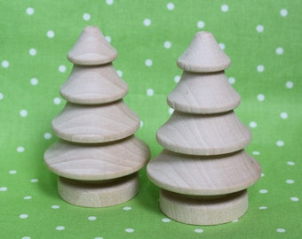 Wooden Winter Pine Trees- Set of Two (2) DIY Unpainted Miniature Christmas Tree