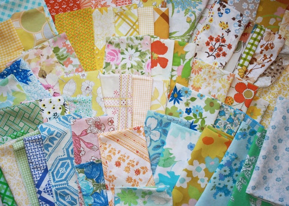 Upcycled Vintage Scrap Fabric Pack- 1 Pound, Variety of Colors and Fabrics