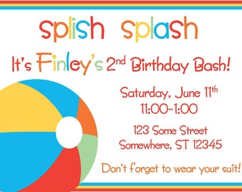 Pool Beach Party Invitation
