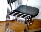 SALE Mid Century Modern Chrome and Leather Stacking Chair (set 4)