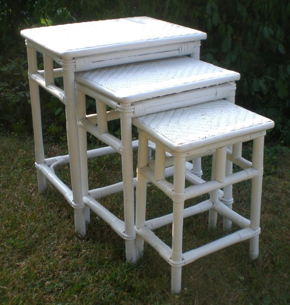 Rattan Nesting Tables ~ Vintage white wicker rattan trio nesting tables shabby chic