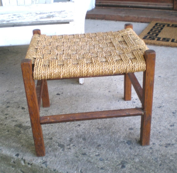 Vintage Woven Foot Stool/Country House