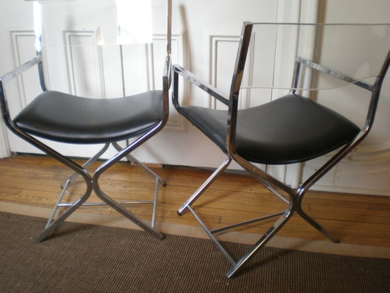 Pair Modern Chrome Leather Lucite Director S Chairs