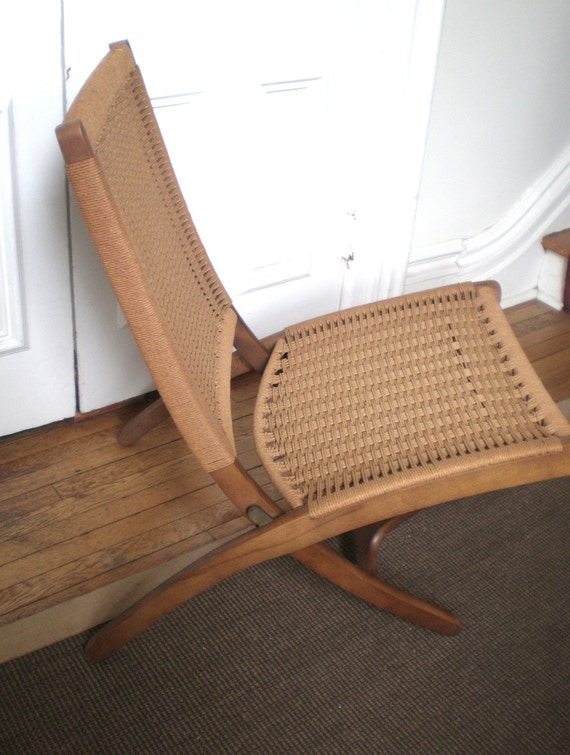 Vintage Mid Century Woven Folding Chair And Ottomon Style Of