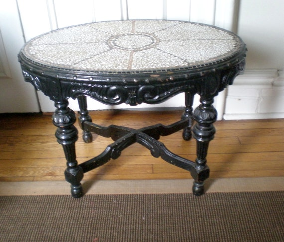 Victorian Carved Wood Mosiac Tile Top Cocktail Table / Boho chic