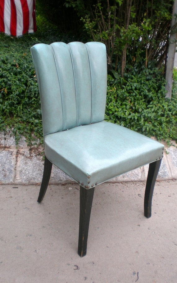 Vintage 1950's Deco Inspired Vinyl Dining Chair (Set of 4) Marked Leanard Furniture Company 1950