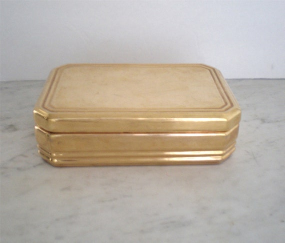 Gold Glazed Italian Ceramic Trinket Box /SALE