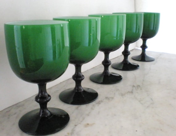Murano Glass Goblets /1960's Carlo Moretti Opaline/Set of 5