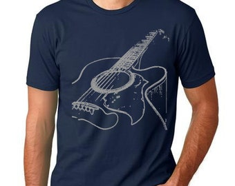 Acustic Guitar cool T shirt screenprinted musicians tee Men and Youth