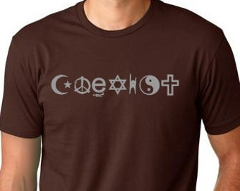 Coexist    T shirt screenprinted peace , Humanism Tee