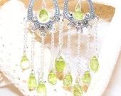 Art Deco Earrings: Vintage Inspired Marcasite and Peridot