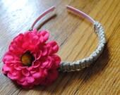 RESERVE for Alycia girl's hemp headband with pink flower